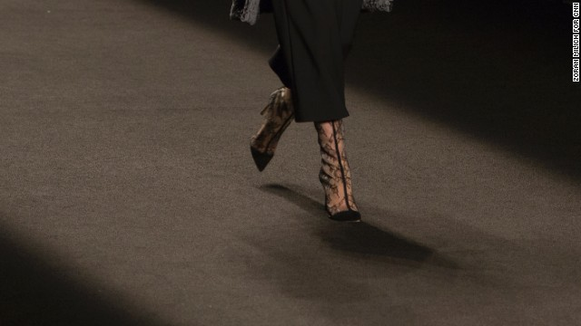 Monique Lhuillier paired many of her looks with lace boots.