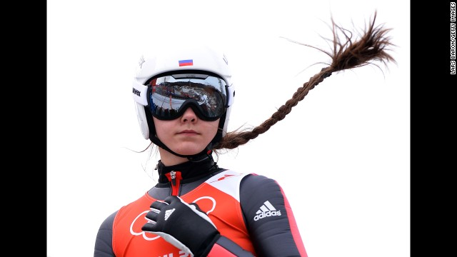 Irina Avvakumova of Russia trains for the normal hill ski jumping event.