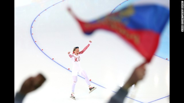 Olga Graf of Russia competes during the 3,000-meter speedskating event February 9.