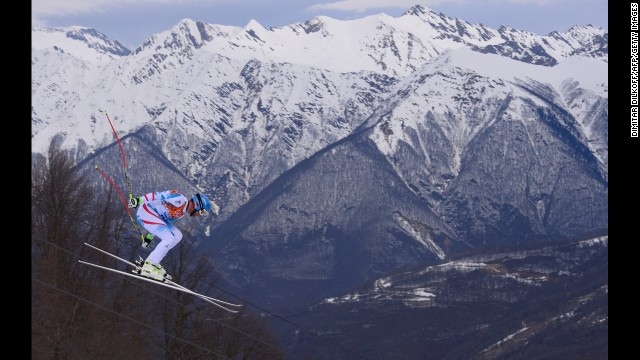 Austrian skier Georg Streitberger competes during the men's downhill.