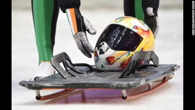 Ireland's Sean Greenwood prepares to take part in a skeleton training session February 9.