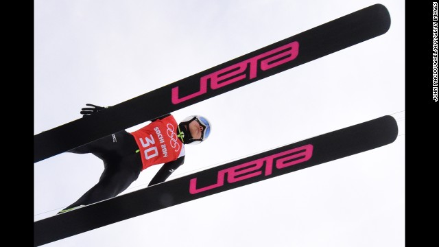 Japan's Sara Takanashi prepares to train for the normal hill ski jumping event.