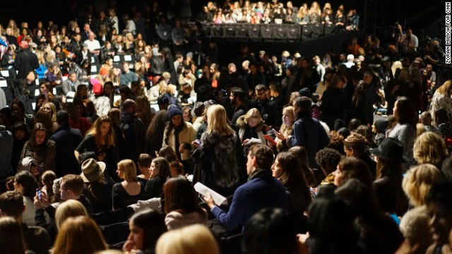 Guests find their seats at the Herve Leger by Max Azria show in Lincoln Center.