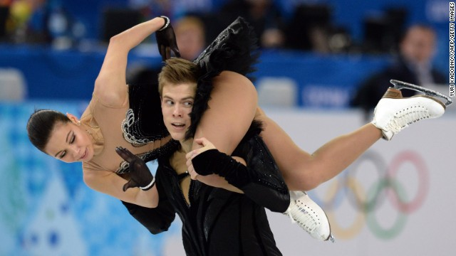 Russia's Elena Ilinykh and Nikita Katsalapov perform in the ice dancing portion of the team figure skating event on February 9.