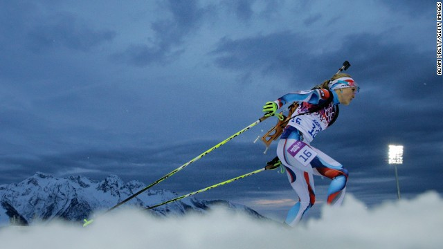 Czech biathlete Gabriela Soukalova competes in the women's 7.5-kilometer sprint on February 9.