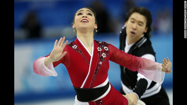 Japan's Cathy Reed and Chris Reed perform in the team figure skating event on February 9.
