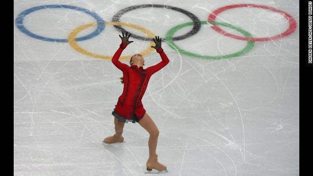 Russia's Julia Lipnitskaia performs during the women's free skate portion of the team figure skating event on February 9.