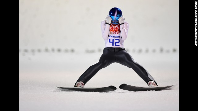 Austria's Thomas Diethart reacts as he competes in the normal hill ski jumping event on February 9.