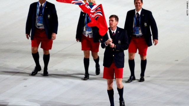 Not to be outdone in the shorts department, Tucker Murphy from Bermuda came to the 2014 Opening Ceremony adorned in his country's national dress of Bermuda Shorts.