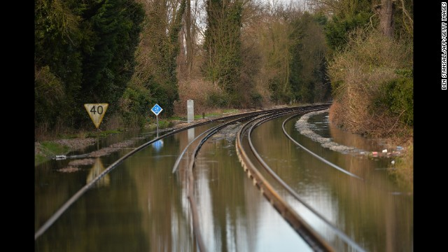 Floodwaters cover train tracks in Datchet on February 10.