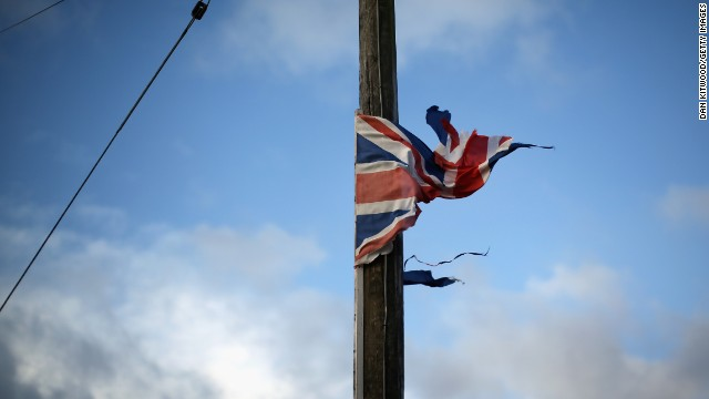 A tattered Union Jack flaps around a lamppost in Moorlands on February 9.