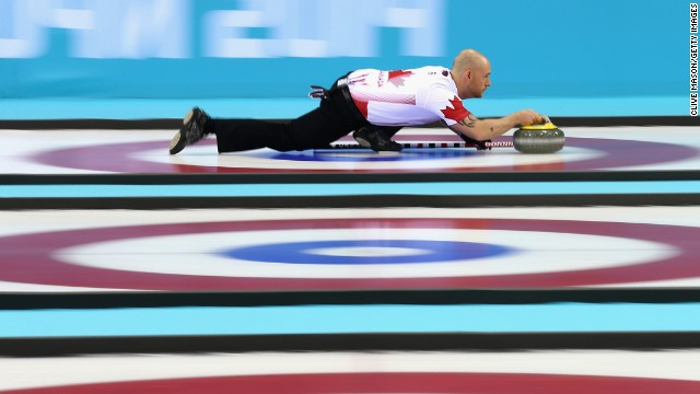 Ryan Fry, a curler from Canada, competes during a match against Germany on February 10.