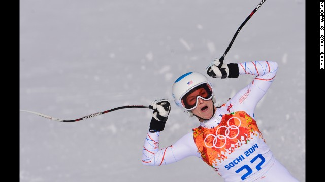 American skier Julia Mancuso reacts at the end of her downhill run in the super-combined event February 10.