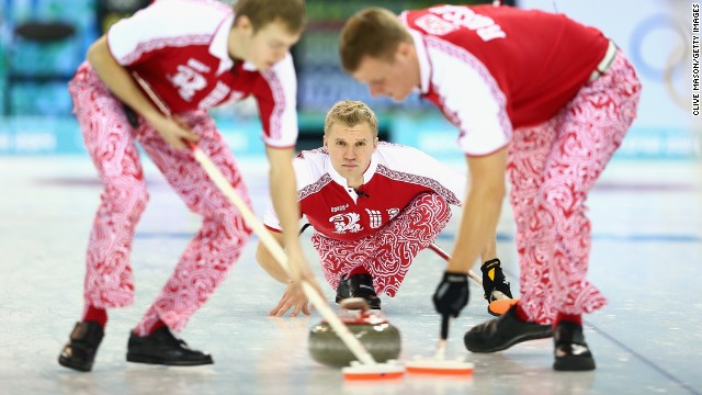 Russian curlers focus during a match against Great Britain on February 10.