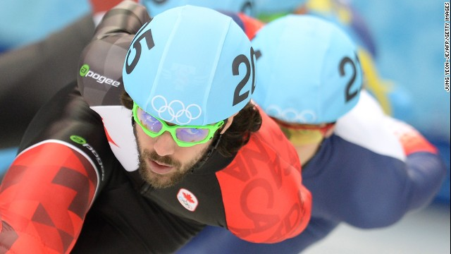 Canada's Charles Hamelin races during the 1,500-meter short track preliminaries on February 10.