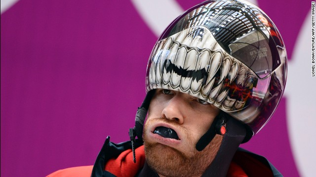 Canadian skeleton racer Eric Neilson is seen during training on February 10.