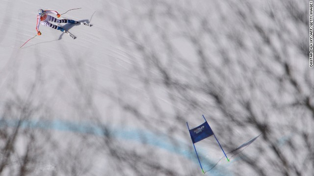 Germany's Maria Hoefl-Riesch competes during the super-combined on February 10.
