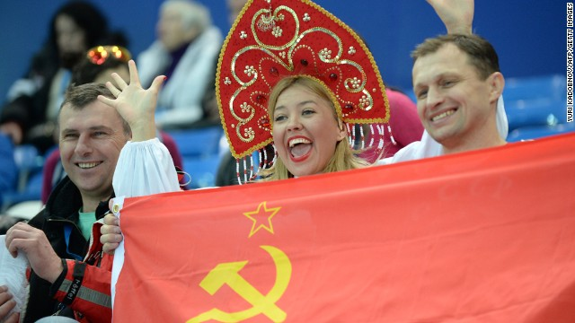 Russian fans attend the short track races on February 10.