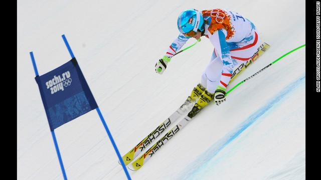Nicole Hosp of Austria competes in the super-combined on February 10.
