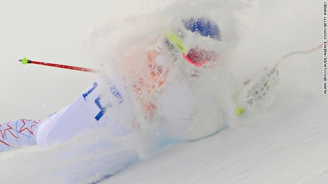 U.S. skier Laurenne Ross crashes during the women's super-combined event February 10.