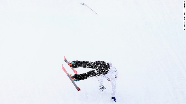 Snowboarder Otso Raisanen of Finland crashes during slopestyle training on February 10.