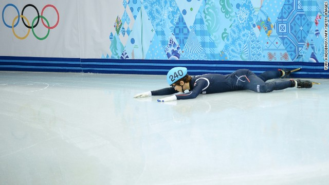 South Korea's Lee Han-Bin falls during the 1,500-meter semifinals.