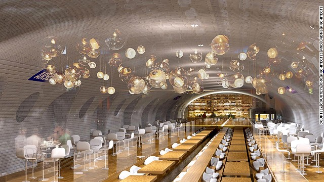 If Paris mayoral candidate Nathalie Kosciusko-Morizet has her way, the city is about to get a whole lot cooler. Morizet has proposed a spectacular refurbishment of the city's abandoned metro stations where, as depicted by this artist's impression, you may soon be able to enjoy the nation's fine cuisine in a luxurious subterranean setting.
