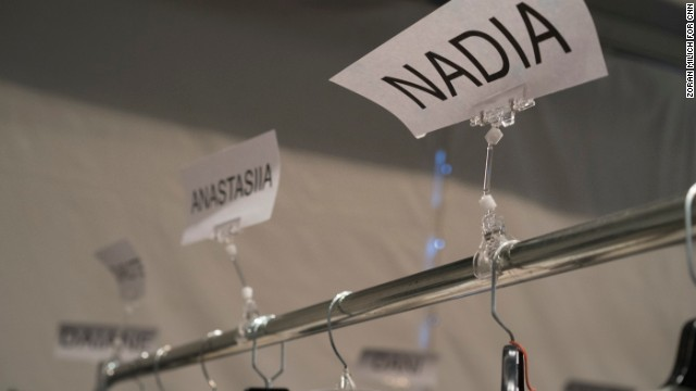 Name tags for models' clothes are seen backstage at Mathieu Mirano's February 10 show.