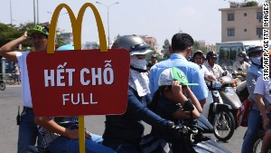 Hundreds came out on February 8 to be among the first to try Vietnam\'s first McDonald\'s restaurant.