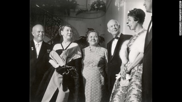 Nikita Khrushchev, shown here with his wife, Nina, and the Eisenhowers at a state dinner in September 1959, was the first Soviet head of state to visit the U.S.