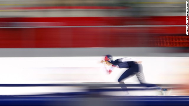 FEBRUARY 9 - SOCHI, RUSSIA: Martina Sablikova of the Czech Republic competes during the women's 3000m speed skating event at the Winter Olympics in Sochi. The games continue today, <a href='http://olympics.edition.cnn.com/Event/Sochi_2014_LIVE?hpt=hp_c1'>with five gold medals up for grabs.</a>