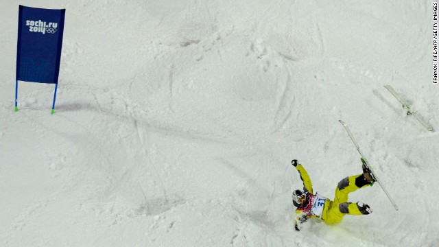 Kazakhstan's Dmitriy Barmashov falls during qualifying for the men's moguls event on February 10.