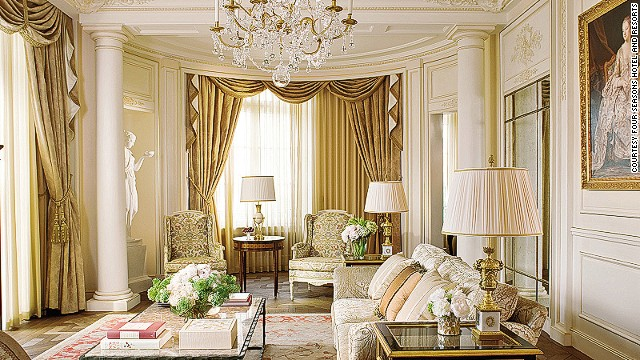 The $13,400, one-bedroom Royal Suite at the Four Seasons Hotel des Bergues Geneva is meant to resemble Versailles; the furniture is French reproduction, the ceilings are soaring, and the windows offer great views of Lake Geneva. The master bathroom is swathed in marble.