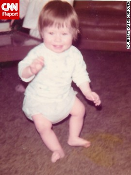 """Are my legs made of rubber?"" -- Krisi Hernandez, age 11 months, takes her very first step before falling down."