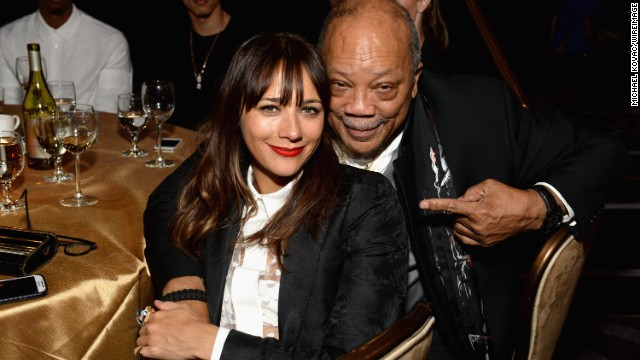 "Actress Rashida Jones is the daughter of actress Peggy Lipton and record producer Quincy Jones, pictured here. On her identity, she remarked: ""It's more of a challenge for other people than it is for me. I have no issues with my identity."""