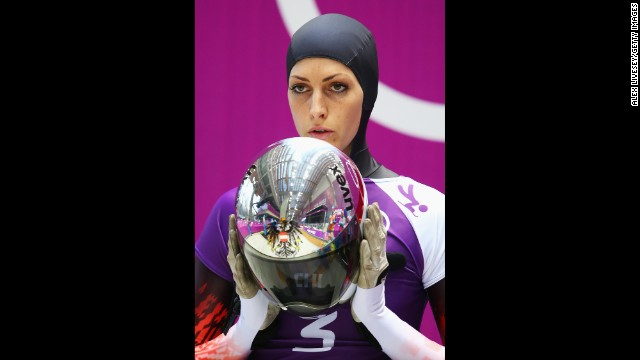 Janine Flock of Austria prepares to make a run during a skeleton training session on February 10.