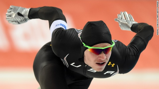 American speedskater Tucker Fredricks competes in the 500 meters on February 10.