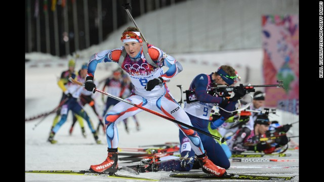 Czech biathlete Ondrej Moravec competes in the 12.5-kilometer pursuit on February 10.
