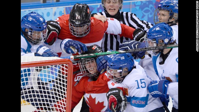 Canada and Finland face off in women's hockey on February 10.