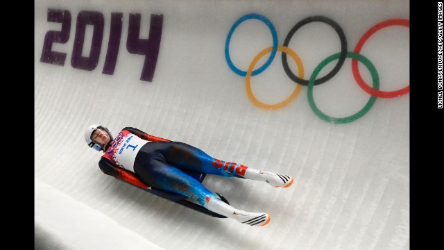 Russia's Ekaterina Baturina competes in the women's luge on February 10.