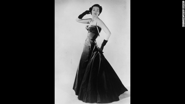 "In 1947, model Barbara Goalen shows off a Christian Dior evening dress, part of the ""New Look"" that Dior helped to popularize after the austerity of Word War II."