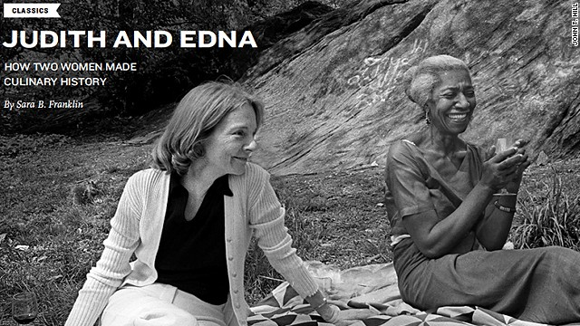 Edna Lewis and Judith Jones at the American table