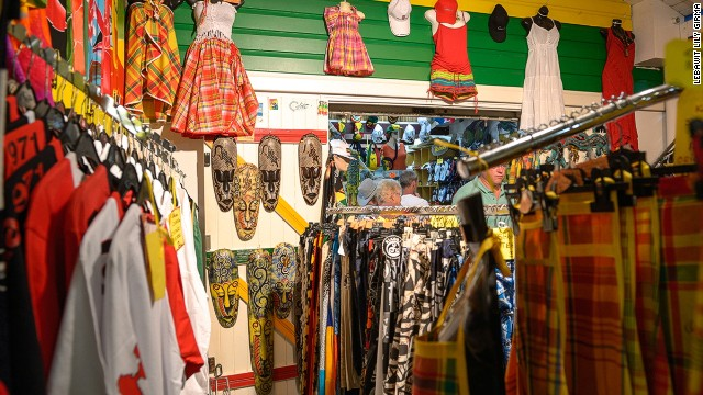 A row of 15 boutiques in St. Anne, the Village Artisanal carries a selection of hand woven beachwear and woodcarvings. Contemporary fashion also thrives -- after all, this is French territory.