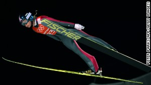 Norway\'s Maren Lundby trains at Sochi. This is the first Olympics to allow women to compete in ski jumping.\n
