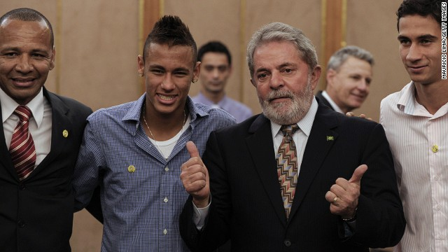 Neymar Senior, pictured on the left, represents his son, seen here alongside former Brazil President Luiz Inacio Lula da Silva as well as his onetime playing partner at Santos, Paulo Henrique Ganso.