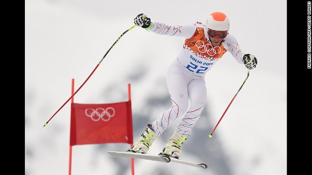 Bode Miller of the United States takes part in a training session for the men's super-combined on February 11.