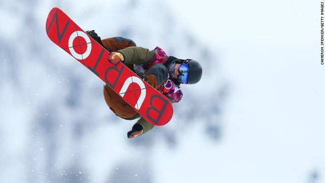 Snowboarder David Habluetzel of Switzerland competes in the men's halfpipe on February 11.