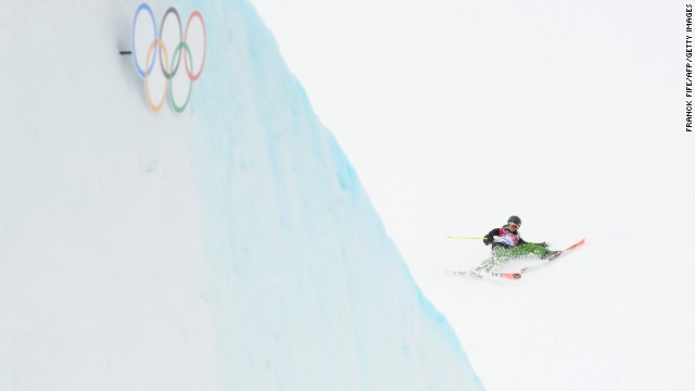 Italian skier Silvia Bertagna falls during slopestyle qualification on February 11.