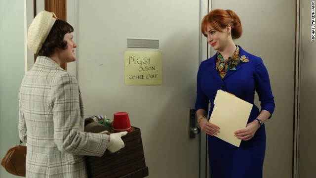 "Christina Hendricks, right, as Joan Holloway Harris, who works in advertising, in ""Mad Men."""
