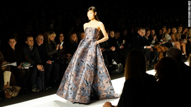 A heavy fabric, floral brocade gown was one of Badgley Mischka's stand-out looks.